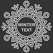 Snowflake frame. Winter theme. New Year s and Christmas. Vector Image.