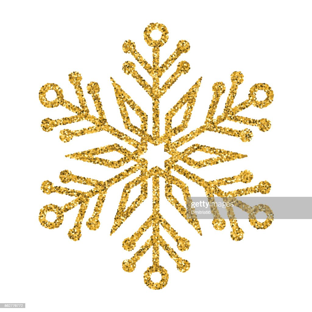 Schneeflocke Gold Vektor Glitter Christmas Ornament Auf Weißem ...