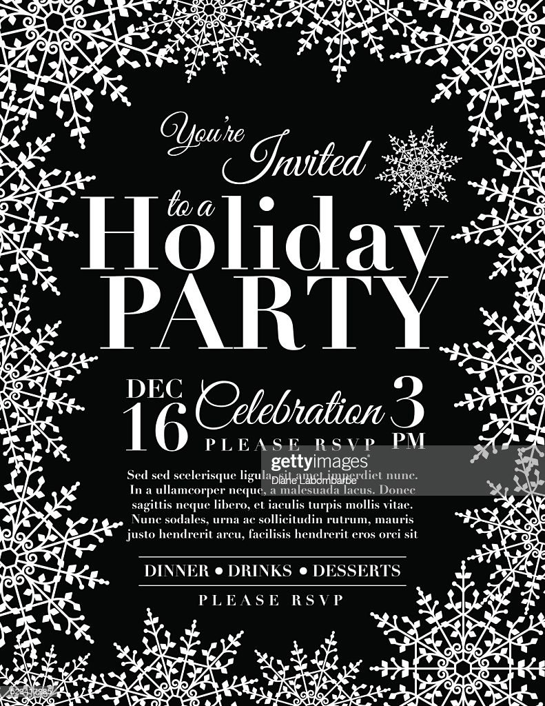 Snowflake Holiday Party Invitation Template Black Vector Art ...