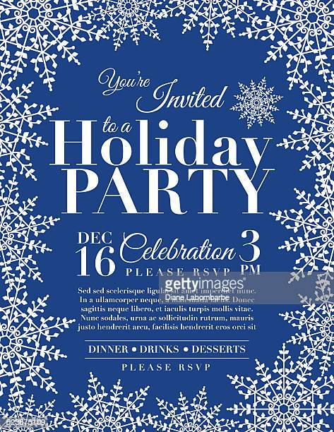 Snowflake Holiday Party Invitation Template - Blue