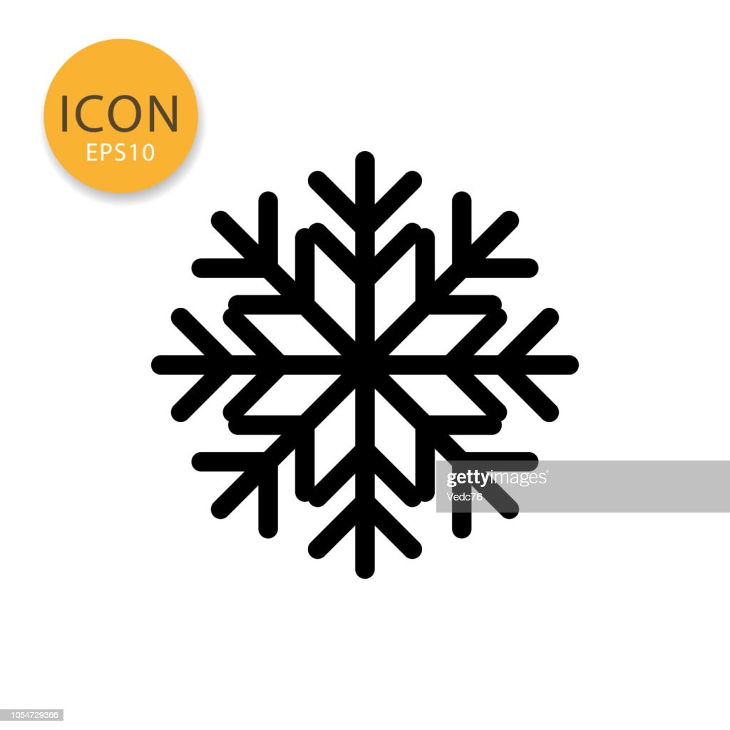 Snowflake icon isolated flat style.