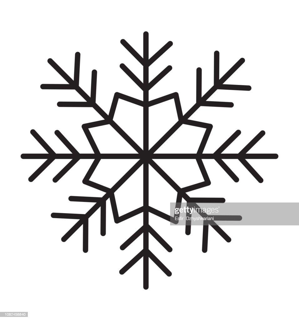 Snowflake icon silhouette flat vector illustration on white background