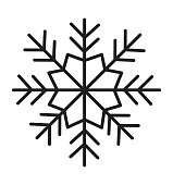 Snowflake icon silhouette flat vector illustration on white background