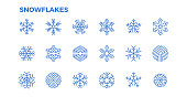 Snowflake icons. Crystals of snow for the decoration of winter themes and Christmas. Editable Stroke.