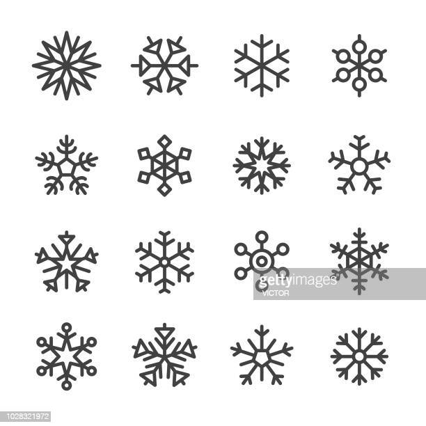 snowflake icons - line series - cold temperature stock illustrations
