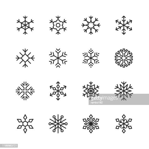 snowflake line icons. editable stroke. pixel perfect. for mobile and web. contains such icons as snow, snowflake, christmas ornament, decoration. - frozen stock illustrations