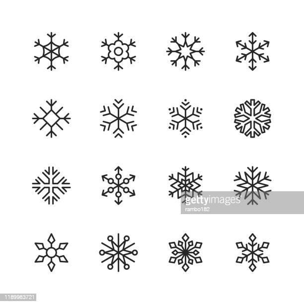 schneeflocke linie icons. bearbeitbarer strich. pixel perfekt. für mobile und web. enthält symbole wie schnee, schneeflocke, weihnachtsschmuck, dekoration. - kälte stock-grafiken, -clipart, -cartoons und -symbole
