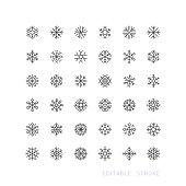 Snowflake Line Icons Editable Stroke
