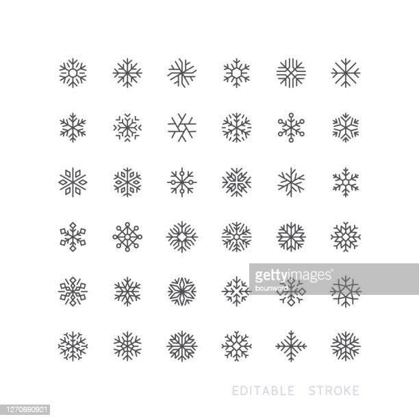 ilustraciones, imágenes clip art, dibujos animados e iconos de stock de snowflake line icons trazo editable - nieve