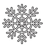 Snowflake line winter icon vector isolated on white