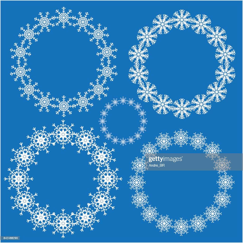 Snowflake round frame set for your design.