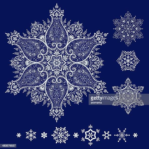 snowflake set - iranian culture stock illustrations, clip art, cartoons, & icons