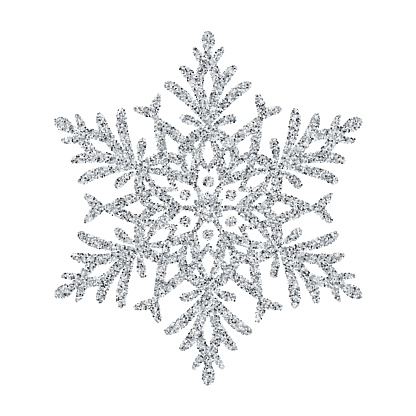 Snowflake - Silver glitter vector Christmas Ornament on white background - gettyimageskorea