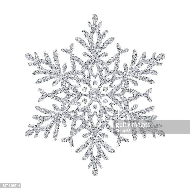 snowflake - silver glitter vector christmas ornament on white background - silver metal stock illustrations