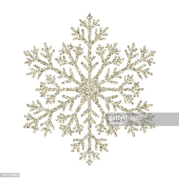snowflake - silver glitter vector christmas ornament on white background - desaturated stock illustrations, clip art, cartoons, & icons