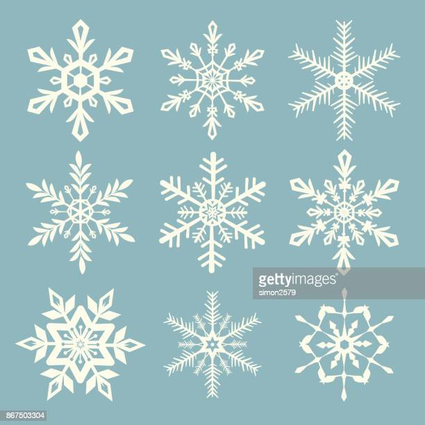 snowflake vector set - frost stock illustrations, clip art, cartoons, & icons