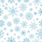 Snowflakes Hand Drawn Pattern. Vector Winter Christmas Seamless Background.