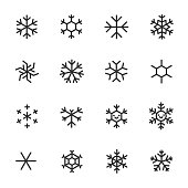 Snowflakes, icon set. Different shapes, linear icons. Line with editable stroke