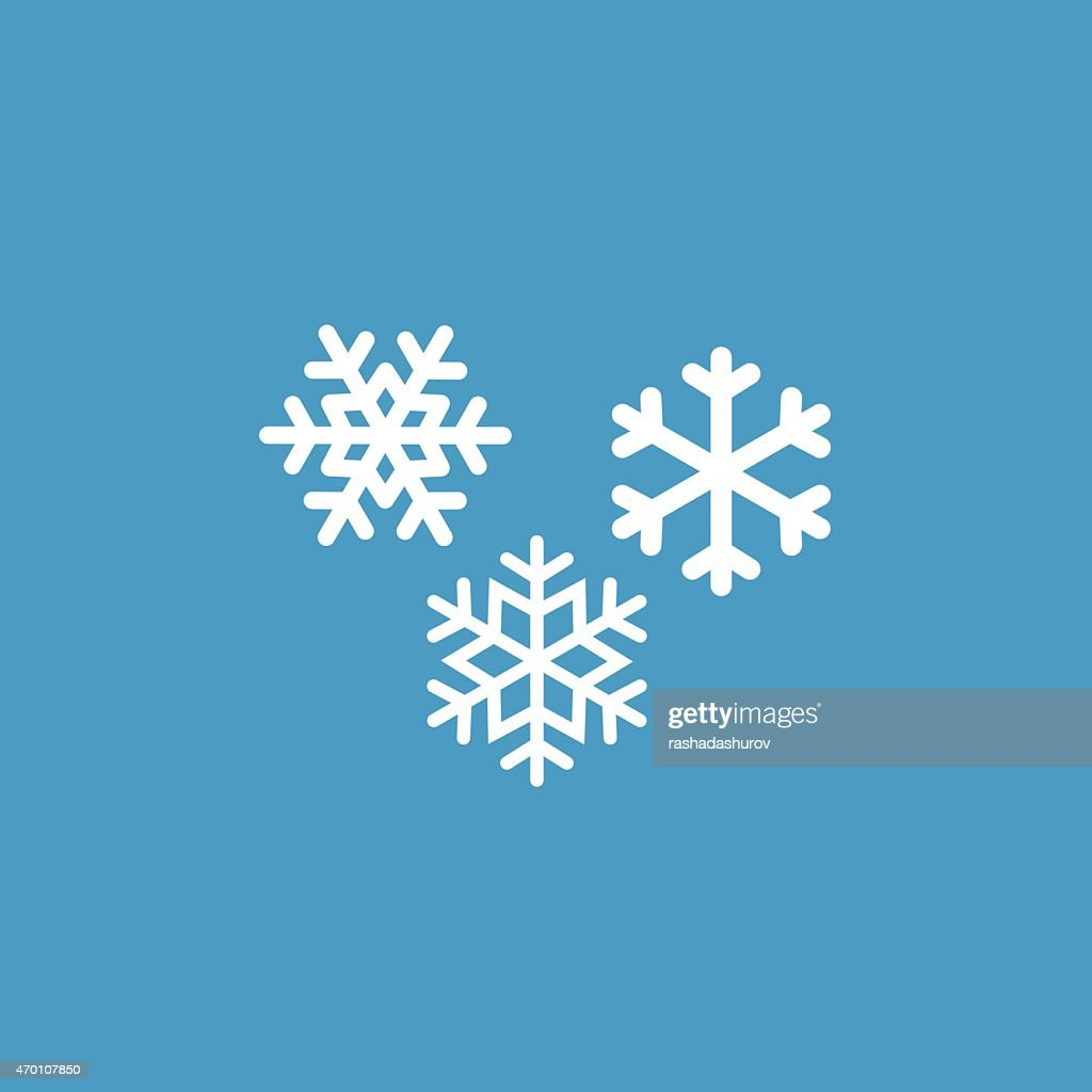 snowflakes icon, white on the blue background