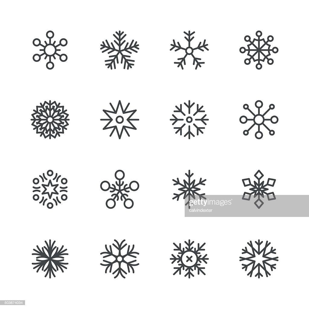 Schneeflocken-icons set 1/Schwarz-Serie : Stock-Illustration
