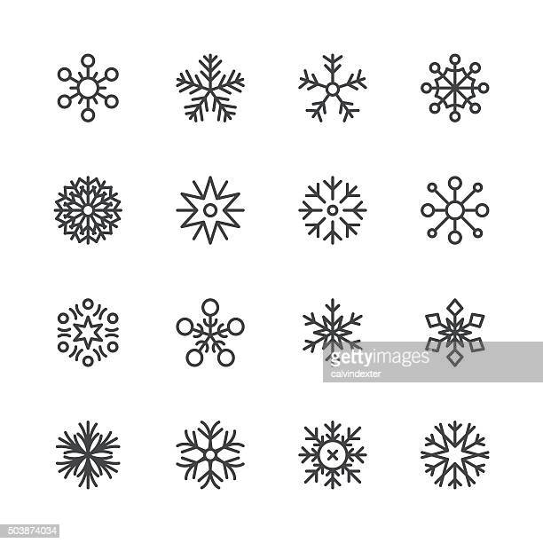 snowflakes icons set 1 | black line series - frost stock illustrations, clip art, cartoons, & icons