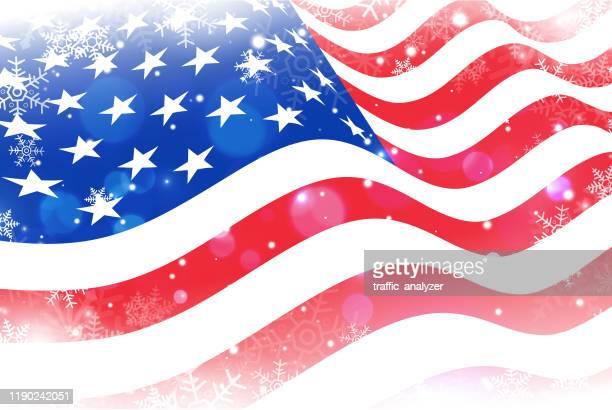 snowflakes over usa flag - patriotic christmas stock illustrations