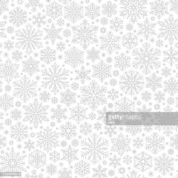 snowflakes seamless pattern - snowflake shape stock illustrations
