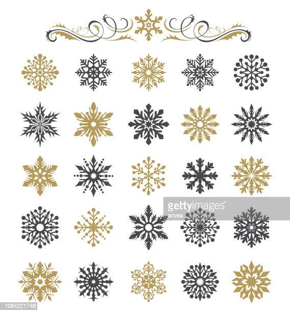 snowflakes set - christmas decoration stock illustrations