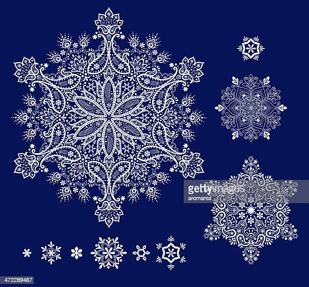 snowflakes set - intricacy stock illustrations