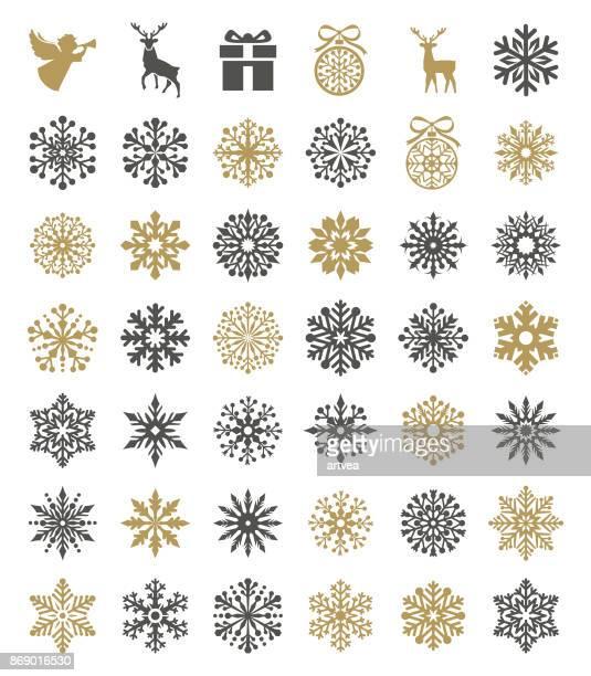 snowflakes set - snowflake stock illustrations