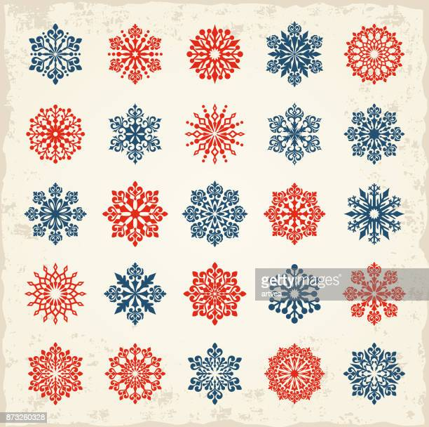 snowflakes set - christmas travel stock illustrations, clip art, cartoons, & icons