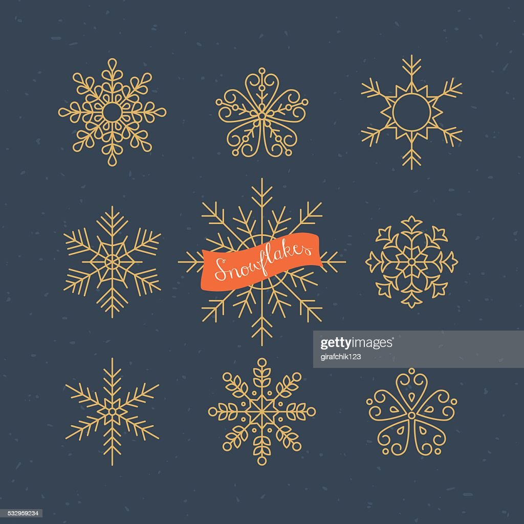 Snowflakes thin line icons design. Christmas vector illustration