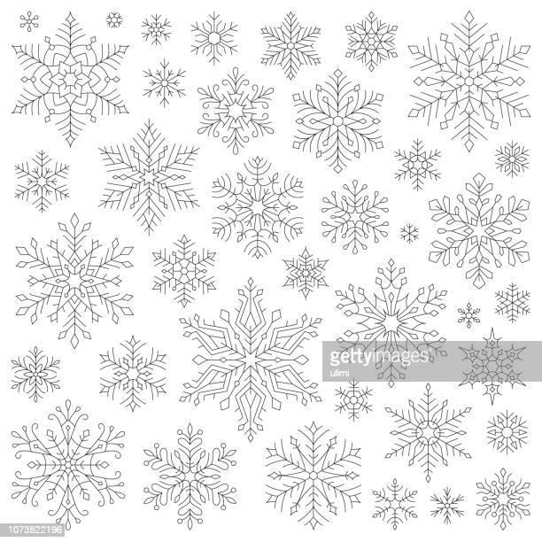 snowflakes, vector icon set - snowflake stock illustrations