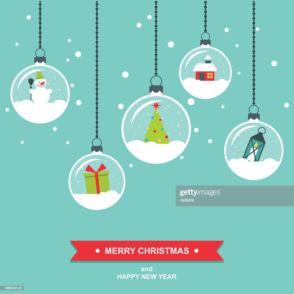 Snowglobes decorations flat design christmas card
