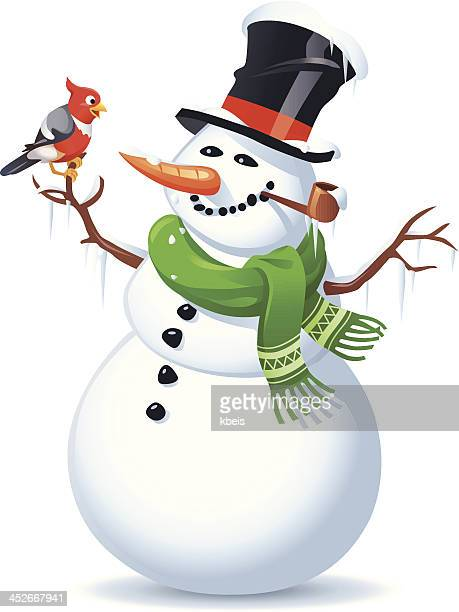 snowman and bird - pipe smoking pipe stock illustrations, clip art, cartoons, & icons