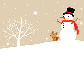 Snowman and Cute Dog with winter tree