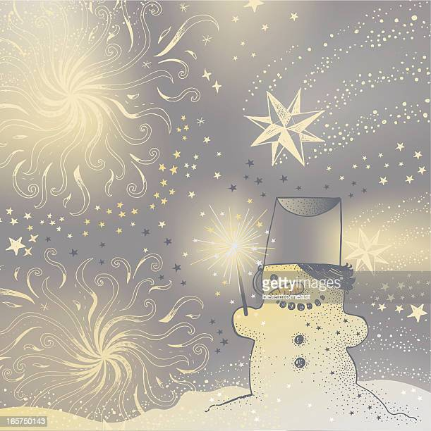 Snowman and fireworks