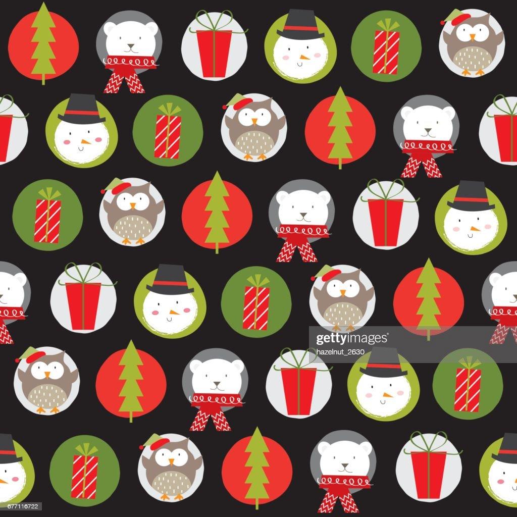 Schneemann Und Freunden Weihnachten Muster Vektorgrafik | Getty Images