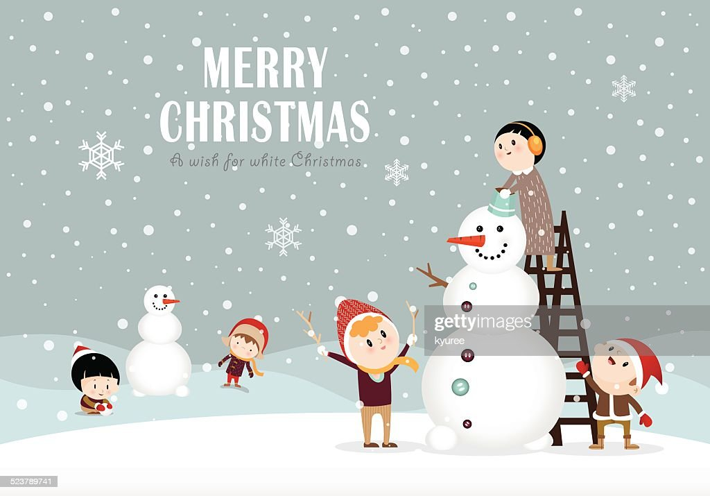 Snowman and kids C