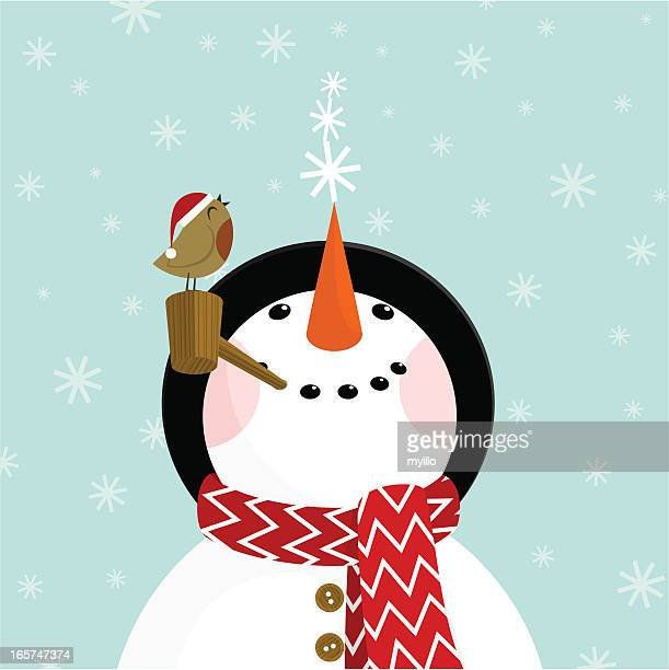 snowman and robin - cute stock illustrations