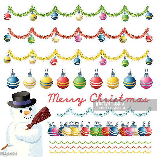 snowman  - baubles - tinsel stock illustrations