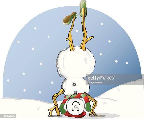 ilustraciones, imágenes clip art, dibujos animados e iconos de stock de muñeco de nieve ser al revés - educacion fisica