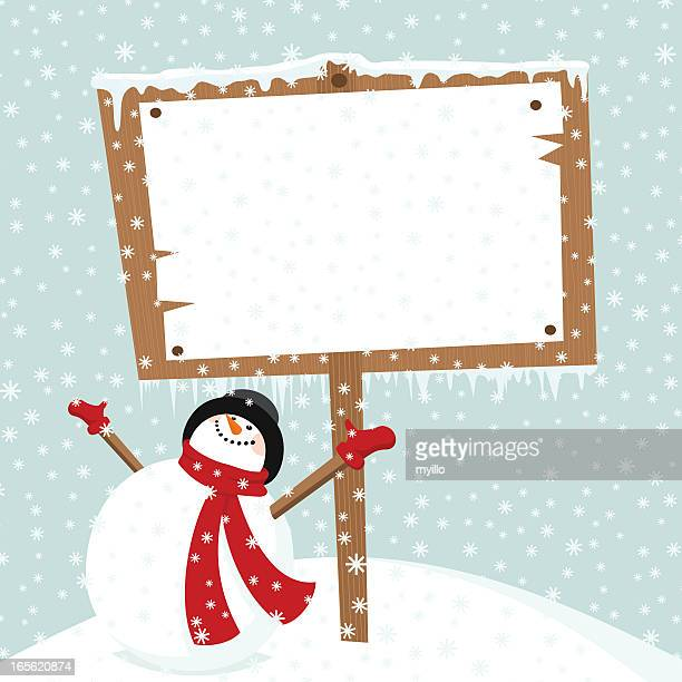 Snowman & billboard. Let it snow in Christmas time