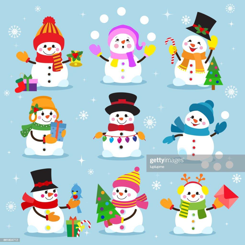 Snowman cartoon winter christmas character holiday merry xmas snow boys and girls vector illustration