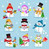 Snowman cartoon winter christmas character holiday merry xmas snow boys and girls vector illustration