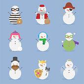 Snowman character emotion kawaii winter and christmas collection