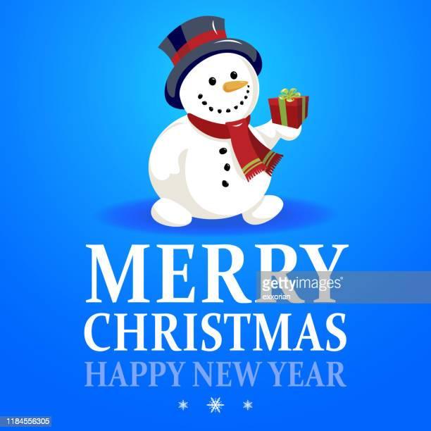snowman christmas card - snowman stock illustrations