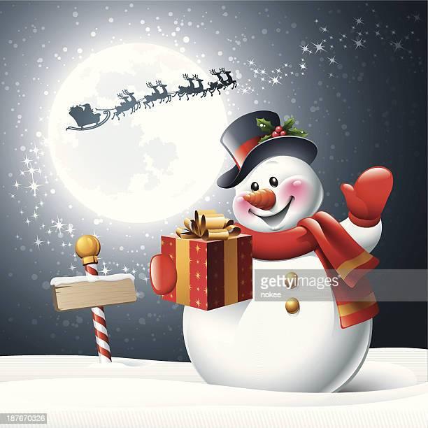 snowman - christmas night - sled stock illustrations