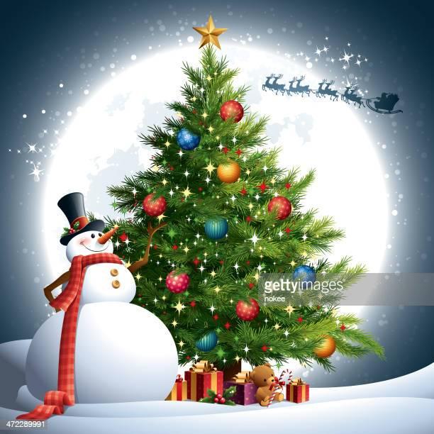 ilustraciones, imágenes clip art, dibujos animados e iconos de stock de árbol de navidad muñeco de nieve - luces de navidad