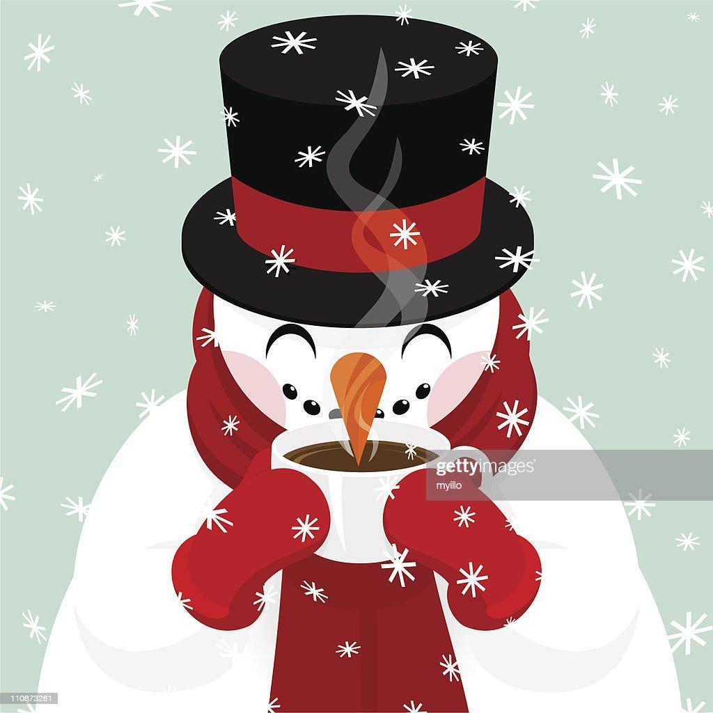 Snowman Drinking Hot Chocolate